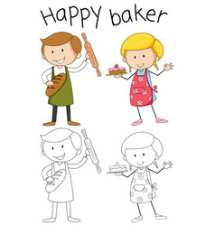 Doodle baker character on white background vector