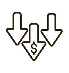 downturn arrows money crisis financial business vector image