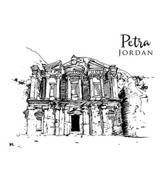 Drawing sketch petra jordan vector