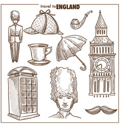 England travel tourism sketch symbols vector