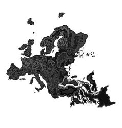 Europe at night as engraving vector image