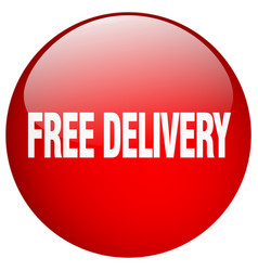 free delivery red round gel isolated push button vector image