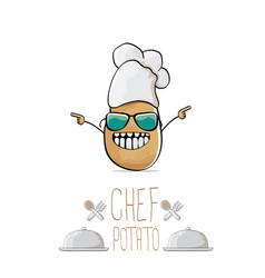 Funny cartoon cute brown chef potato vector