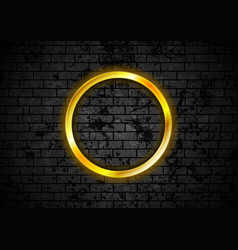 glowing golden neon circle frame on brick wall vector image