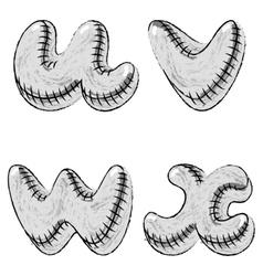 Grunge charcoal doodle font letters UVWX vector image