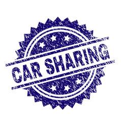 Grunge textured car sharing stamp seal vector
