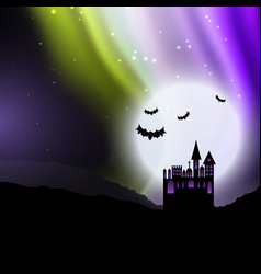 halloween background with spooky house and vector image