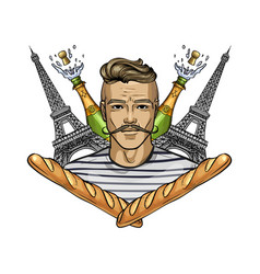hand drawn sketch french man vector image