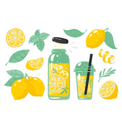 hand drawn yellow lemon summer cold lemonade with vector image