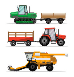 Heavy agricultural machinery for field work vector