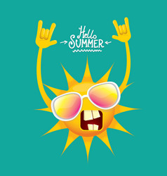 Hello summer funky rock n roll label vector