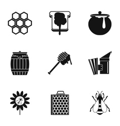 Honey production icons set simple style vector image