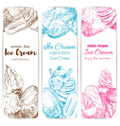 ice cream sketch banner set for food label design vector image