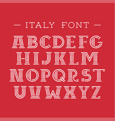 italy font alphabet with latin letters vector image