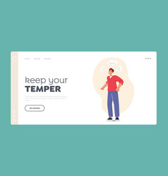 keep your temper landing page template furious vector image