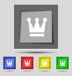 King Crown icon sign on the original five colored vector image