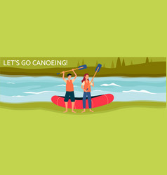 lets go canoeing banner or poster template with vector image