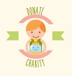 Little boy with jar coins donate charity label vector