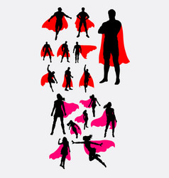 Male and female superhero silhouettes vector