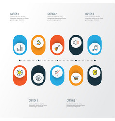 Multimedia colorful outline icons set collection vector