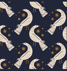 night bird seamless pattern or digital paper vector image