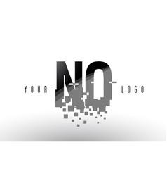 no n o pixel letter logo with digital shattered vector image