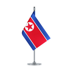 north korean flag hanging on the metallic pole vector image
