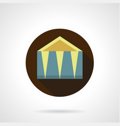 Outdoor event tent flat round icon vector