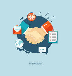 Partnership flat concept with icons vector