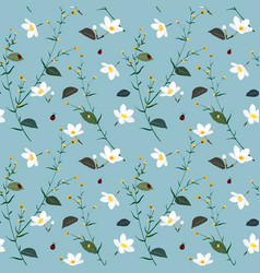 pastel seamless pattern with wild flower vector image