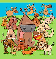 Playful dogs cartoon characters group vector