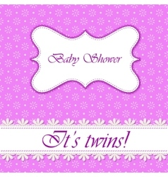 Polka dot flowers baby shower twins vector