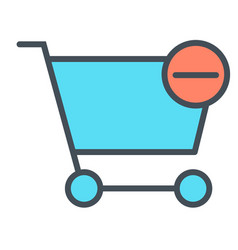 remove items from shopping cart line icon 48x48 vector image