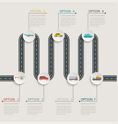 Road infographic stepwise structure vector