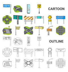 Road junctions and signs cartoon icons in set vector