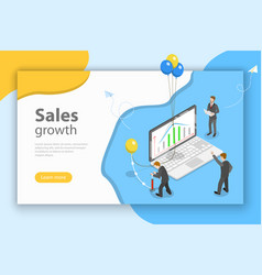 sales growth isometric flat conceptual vector image