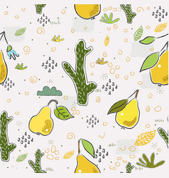 Seamless pattern with hand drawn cacti and vector