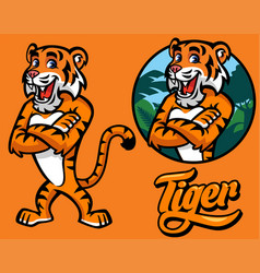Set cartoon tiger character vector