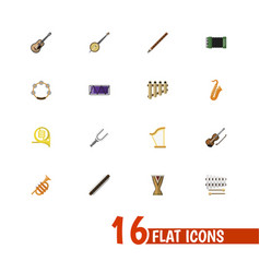 set of 16 editable music icons flat style vector image