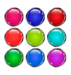 set of glass round buttonsin in a silver frame vector image