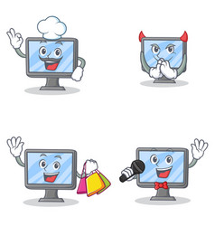 set of monitor character with chef devil shopping vector image