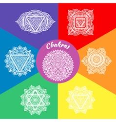 Set seven chakras vector