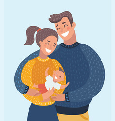 Smiling mother and father holding their newborn vector