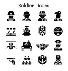 soldier military icon set vector image