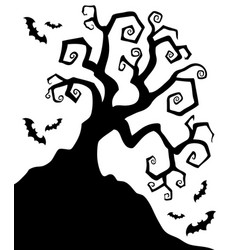 Spooky silhouette of halloween tree vector
