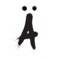 Sprayed scandinavian graffiti vowel font in black vector