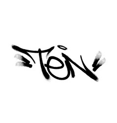 sprayed ten font with overspray in black over vector image