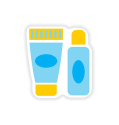 Stylish paper sticker on white background shaving vector