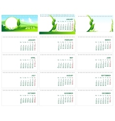 Table desk calendar 2016 Green template calendar vector image