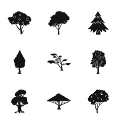 Trees icons set simple style vector